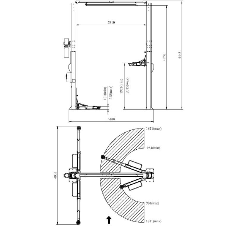 REAL 2 post clear floor hoist 6 ton lifts
