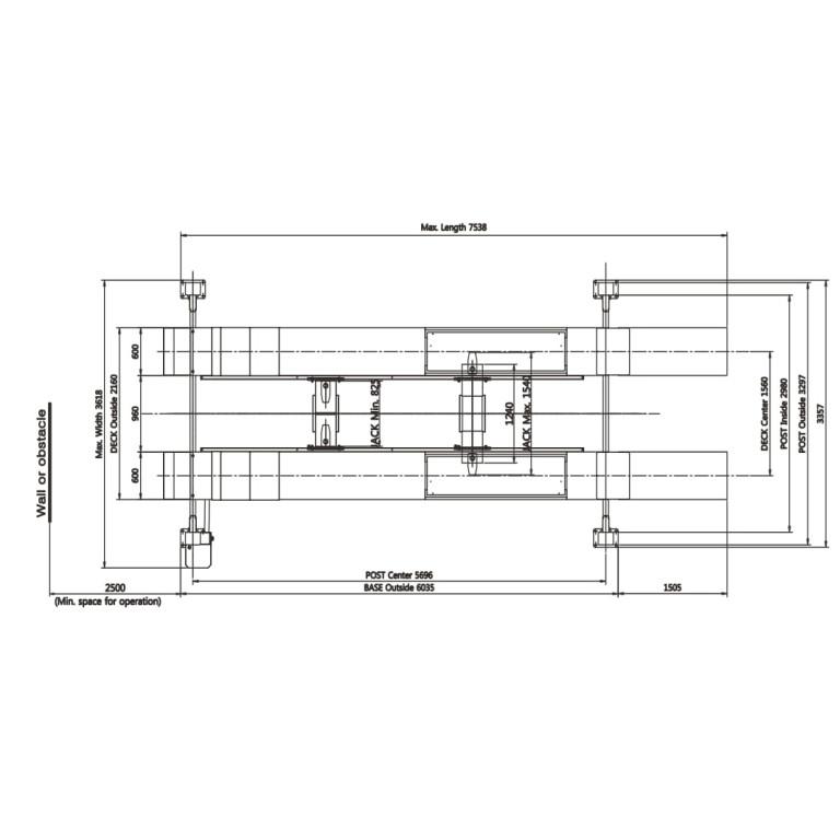 Powerrex SL6000A 4 post 6 ton heavy duty alignment lift made in Korea with 2 jacks
