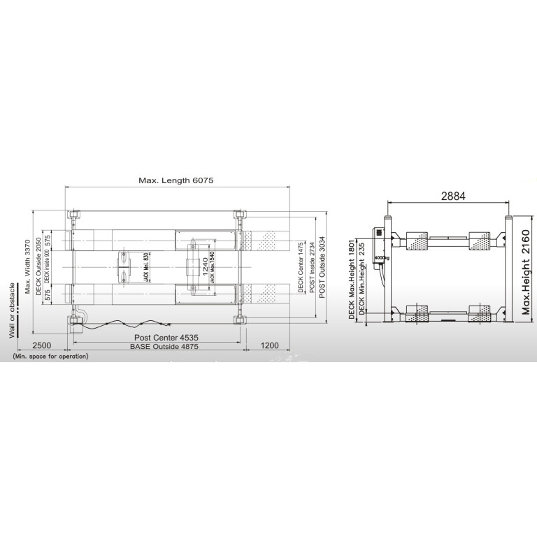 Powerrex SL3600A 4 post 4.5 ton wheel alignment lift with 2 jacks made in Korea