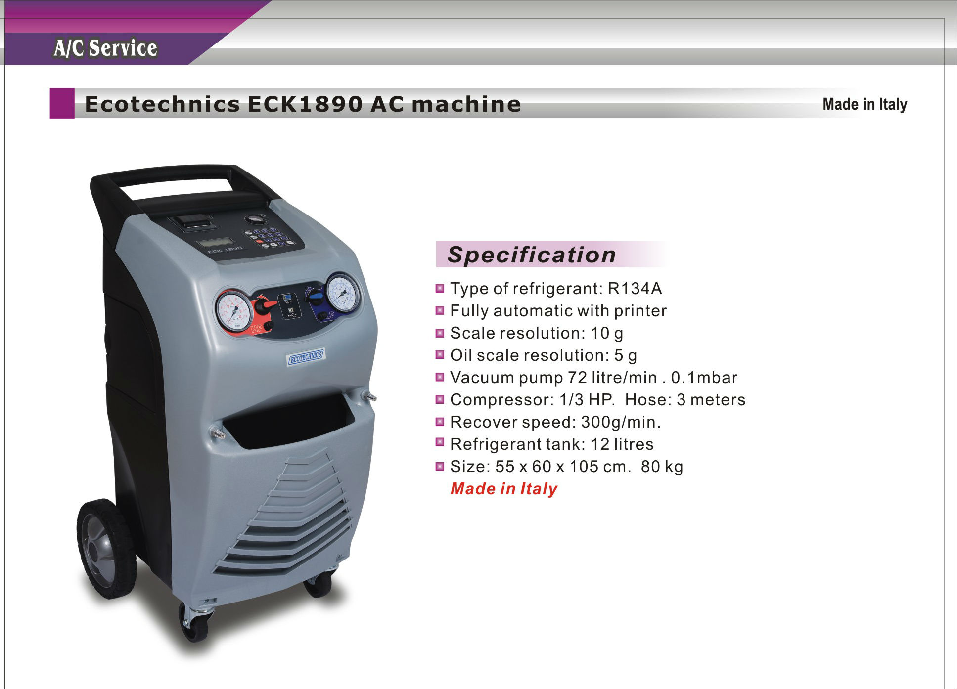 Ecotechnics Eck1890 Full Automatic Ac Machine Made In