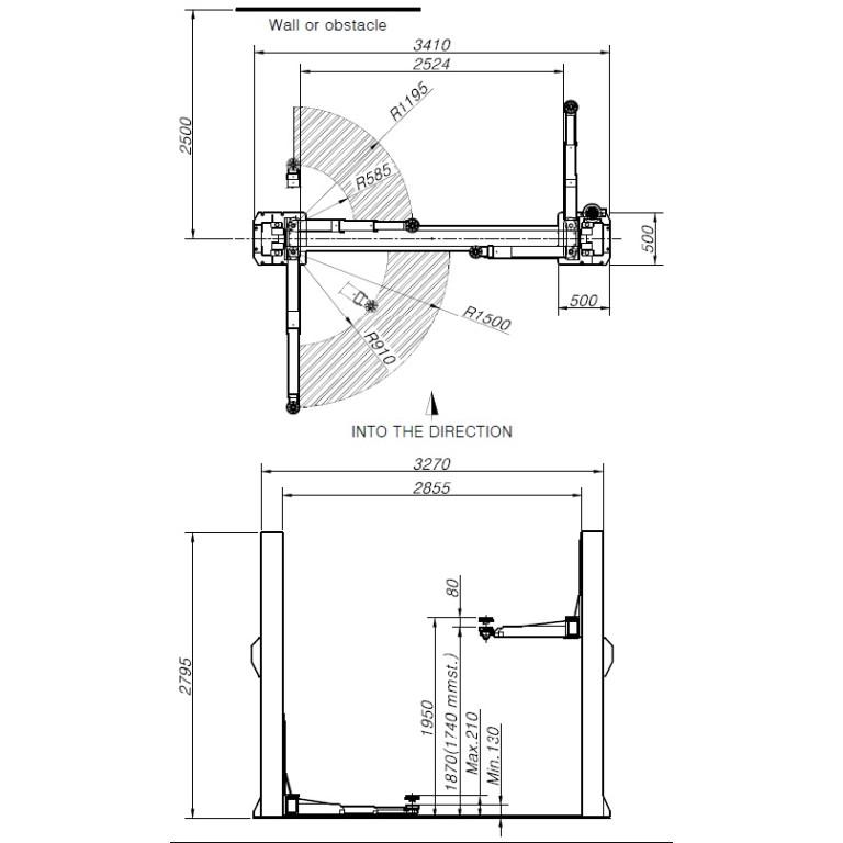 Powerrex SL2500BP 2 Post Base Type Hoist 4 Ton