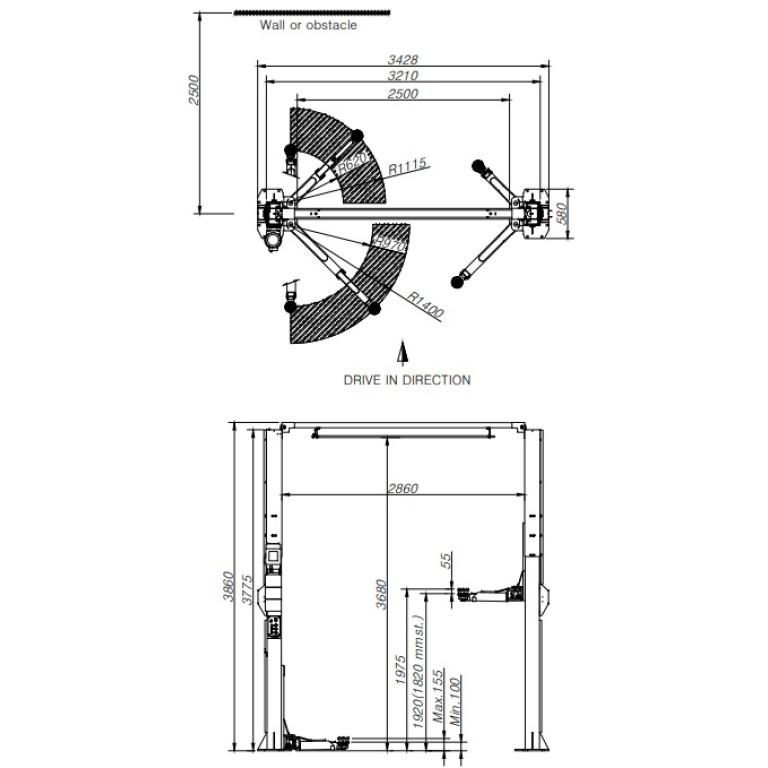 Powerrex SL25TF 2 post clear floor 5 ton hoist made in Korea