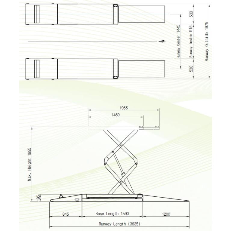 Powerrex SL34DX 3.3 Ton Full Rise Double Scissor Lift (standard: On ground/ Optional: in ground)