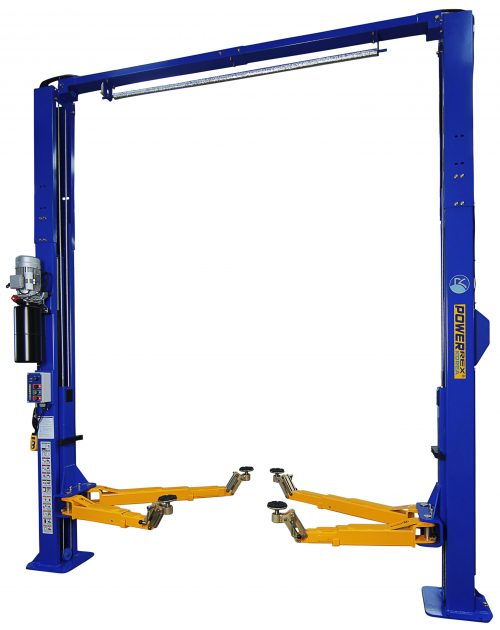 Powerrex SL2950HR 2 post 4.5 ton clear floor lift with ratchet arm. Made in Korea